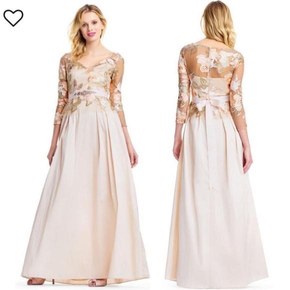 nacionalismo Electropositivo Mentalmente  Adrianna Papell Dresses   Adrianna Papell Belted Long Sleeve Taffeta Gown    Poshmark